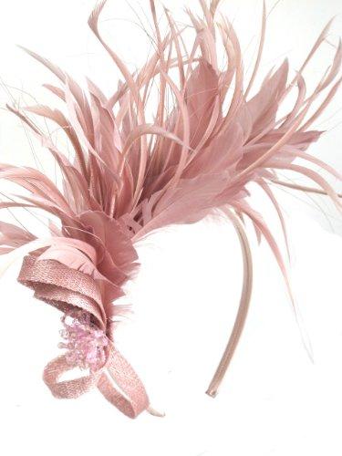Pretty Dusky Nude Pink Feather Hairband Fascinator  Amazon.co.uk  Jewellery 36f338799ae
