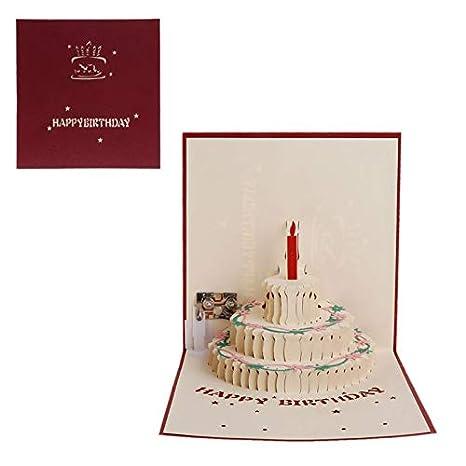 Amazon.com: Tarjeta de felicitación 3D con diseño de tarta ...