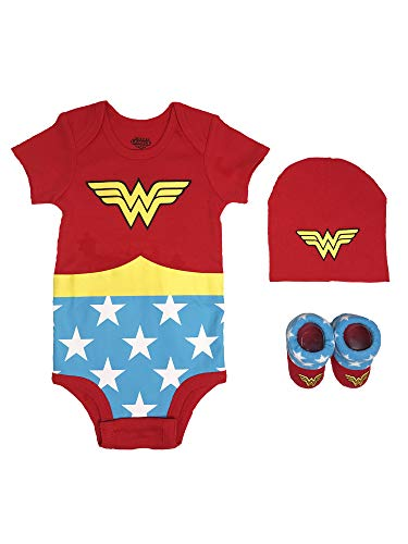 Baby Girl 0-3 Halloween Costumes (DC Comics Baby Girls Superman, Flash, Batman 3-pc Set in Gift Box, Wonder Woman red,)