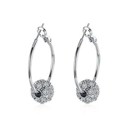 Naivo 18K Gold Plated Crystal Ball Pave Hoop Earrings - 3 Colors (White Gold)
