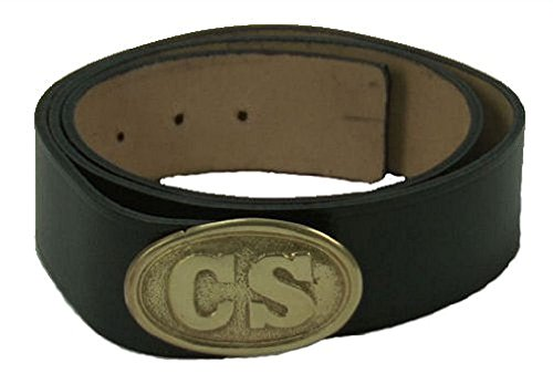 48 Inch Reproduction Civil War Leather Belt with C.S. Buckle ()