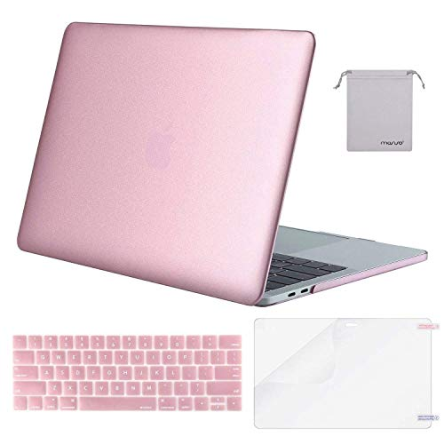 MOSISO Plastic Hard Case & Keyboard Cover & Screen Protector & Storage Bag Compatible Newest MacBook Pro 13 Inch, Pure Pink Gold