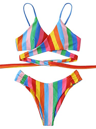 SOLY HUX Women's Floral Halter Wrap Knotted Back Bikini Set Rainbow Striped M