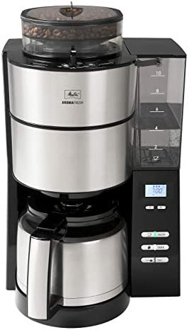Melitta 1021-12 AromaFresh Therm Filterkaffeemaschine (mit integriertem Mahlwerk und Thermkanne, Rostfreier Stahl) schwarz