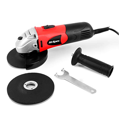 Hi-Spec 600W 5.2A Corded Mini Angle Side Grinder with 2 Grinding & Abrasive Cutting Grit Discs, Safety Guard & Support Handle. Suitable for Metal, Masonry, Stone, Brick, and Wood DIY Work