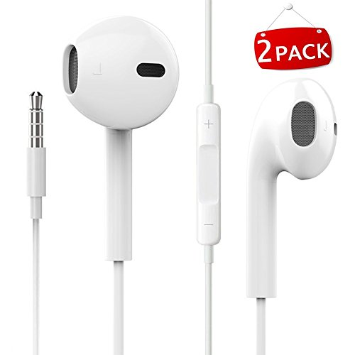 JNDDF Wire Headphones earbuds with Mic earphones (2 Pack) and Remote Control for Apple iPhone/iPod/iPad/Samsung Galaxy (White)
