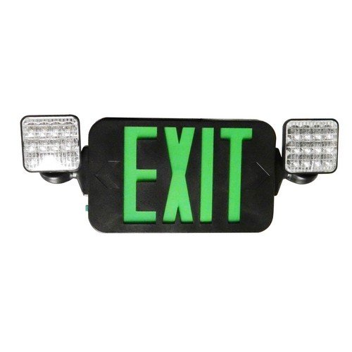 Morris 73435 Square Head LED Combo Exit/Emergency Light, High Output Black Housing, Green