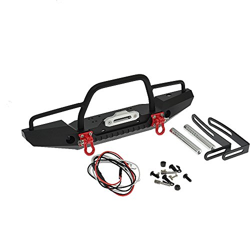 RCAIDONG 1/10 Front Bumper Bull Bar with LED Headlights Winch Mount Seat for TRAXXAS TRX-4 TRX4 AXIAL SCX10 RC Rock Crawler (Bronco Piece 4)