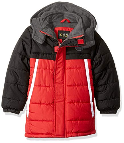 iXtreme Boys' Toddler' Colorblock Puffer, red, 4T