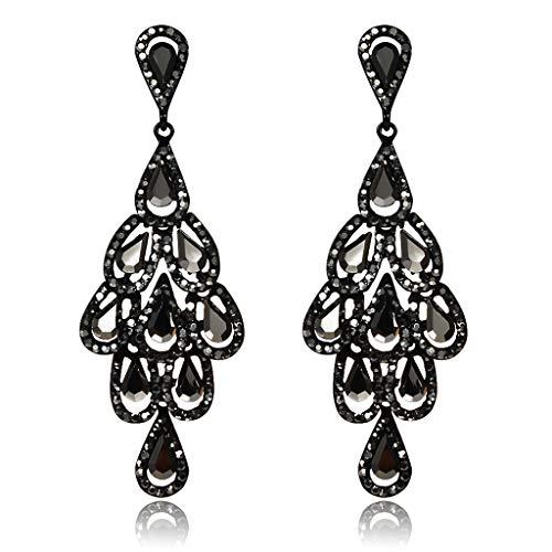 Fashion Vintage Dangle Crystal Earrings,Openwork Teardrop Leaf Shape Chandelier Rhinestone Lady Girl Earrings Jewelry Gift (Black)
