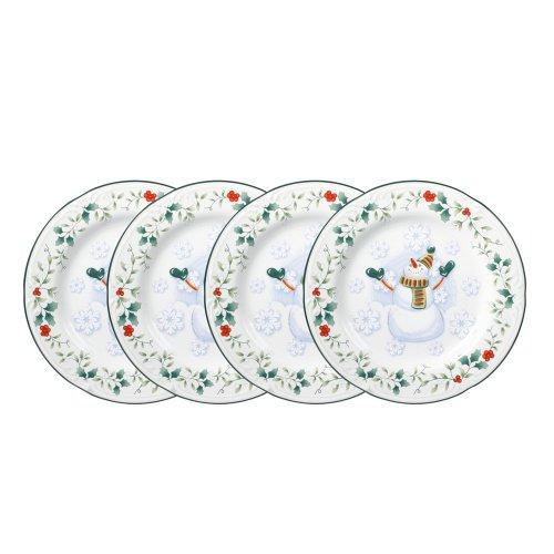 Pfaltzgraff Winterberry Snowman Salad Plate (8-Inch, Set of 4)