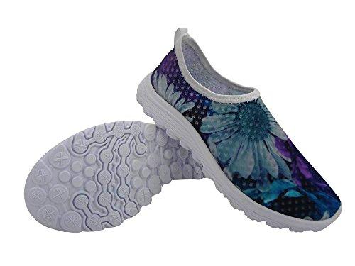 Pour U Conceptions Élégant Motif Floral Décontracté Maille Confortable Femmes Marchant Chaussures De Course Bleu B