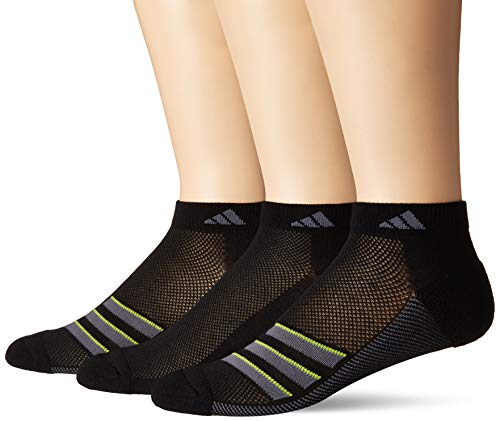 adidas Mens Climacool Superlite Low Cut Socks (3-Pack), Black/Onix/Semi Solar Slime, Size 6-12