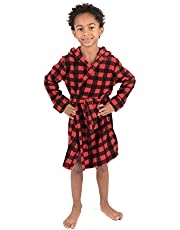 Leveret Kids Robe Boys Hooded Fleece Sleep Robe Bathrobe (2 Toddler-14 Years) Variety of Colors