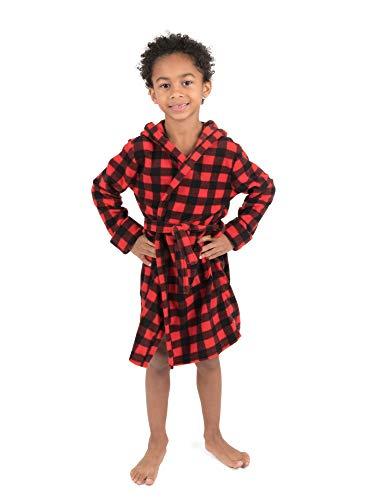 Leveret Kids Fleece Sleep Robe Plaid Red/Black Size 14 - Black Plaid Fleece