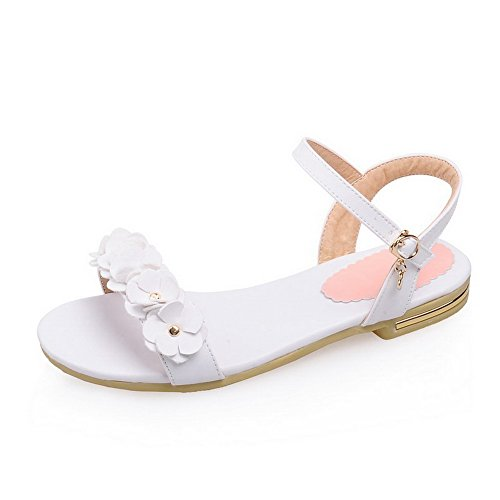 AmoonyFashion Womens Low-heels Soft Material Solid Buckle Open Toe Sandals with Flowers White 38JnrUcc