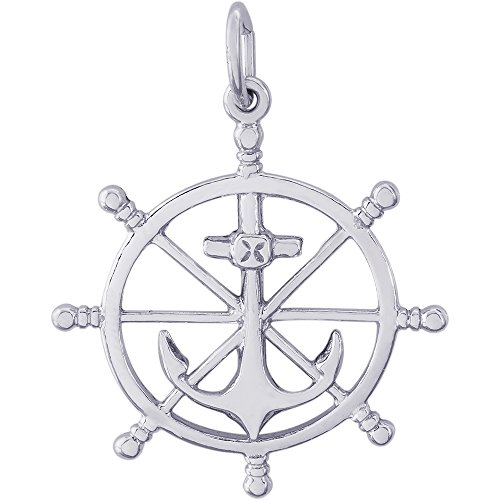 Rembrandt Charms Sterling Silver Anchor and Ships Wheel Charm (22.5 x 22.5 mm)