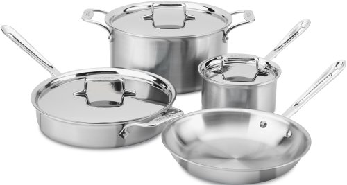 All-Clad BD005707-R D5 Brushed 18/10 Stainless Steel 5-Ply Bonded Dishwasher Safe Cookware Set, 7-Piece, Silver