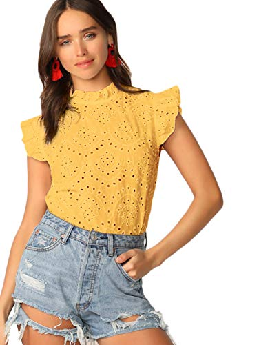 Romwe Women's Sleeveless Ruffle Stand Collar Embroidery Button Slim Cotton Blouse Top Yellow M
