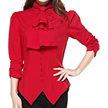 CSDttT XS-XXL Pearl Goddess - Red Pearl Button Victorian Gothic Blouse Top