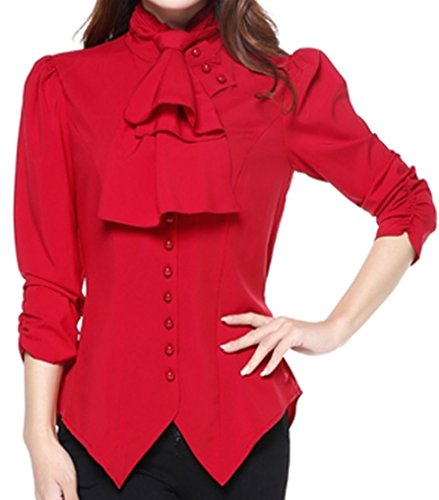 Sunday Social Club (Pearl Goddess - Red Pearl Button Victorian Gothic Vintage Style Blouse (MD))
