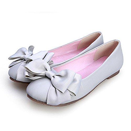 OCHENTA 2017 Nuevo Moda Zapatos Planos boca baja de Los Estudiantes flores se inclinan Gris
