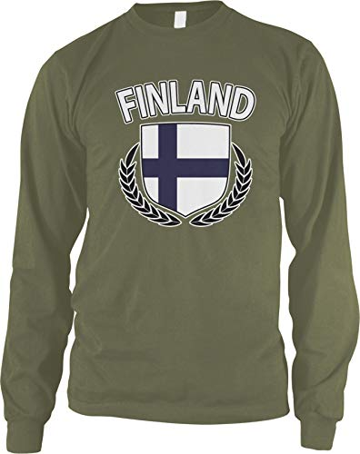 Amdesco Men's Finland Flag Shield Finnish Pride Long Sleeve Shirt, Moss Green XL (Of Coat Arms Finnish)