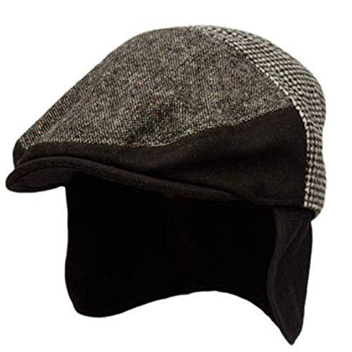 Epoch hats 100% Wool Herringbone Winter Ivy Cabbie Hat w/Fleece Earflaps - Driving Hat (XL, IVE3005BLACK)