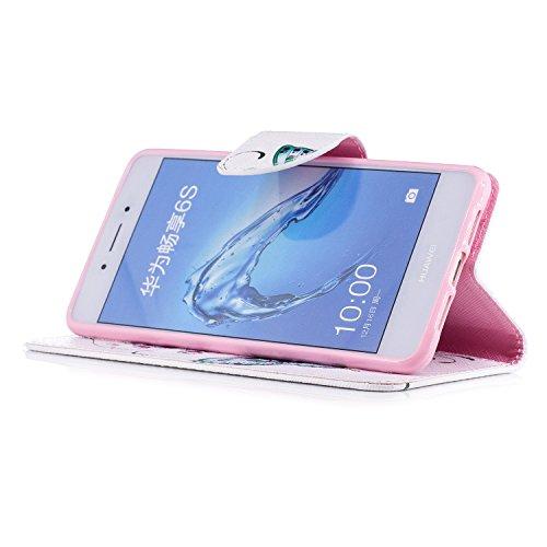 Para Huawei Honor 6C funda, (El búho pareja bajo el árbol) caja del teléfono de la PU patrón en pintado ,Función de Soporte Billetera con Tapa para Tarjetas soporte para teléfono Mariposa de melocotón