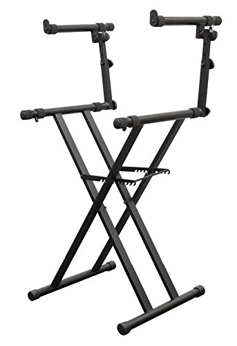 Odyssey LTBXS2 Two Tier X-Stand: Heavy-Duty Double Braced Dj Coffin/Keyboard Stand -