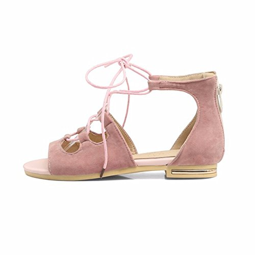 refrigerar de RFF a Alta Grandes Correa Plana Sandalias Zapatos ayudan Shoes Zapatos Tacón Pink Suede Women's de Botas Las Tallas CrwCFxat