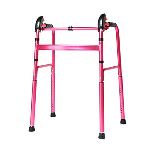 Lightweight 2.8kg Foldable Adult Seniors Rollator Assistive Walkers Climbing on the Downhill Walking Fram Aid Without Wheel |Aluminum Alloy | 360 ° Rotating Foot Pad| Adjustable Height 76-96cm | Max L