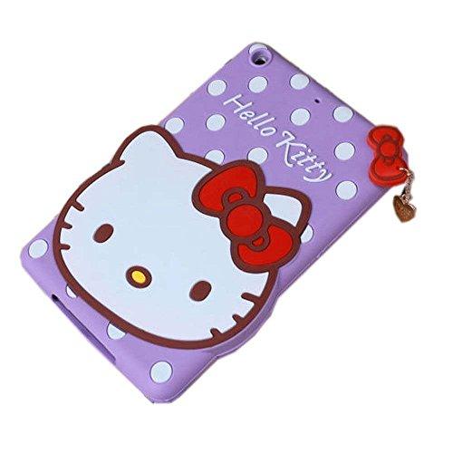 iPad Mini Case,Phenix-Color 3D Cute Soft Silicone [Drop Proof,Shock Proof,Anti Slip] Despicable Me 2 Hello Kitty Cartoon Gel Rubber Back Cover Case for iPad Mini 1 2 3 (Hello Kitty Purple)