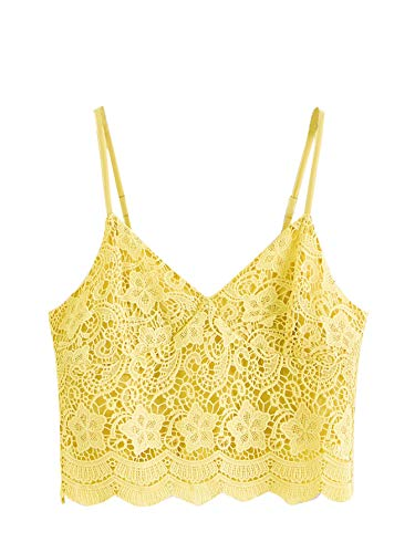 - SheIn Women's Casual Lace Crochet Spaghetti Strap Zip Up Cami Crop Top Camisole Small Yellow