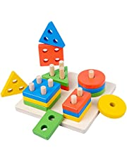 Wooden Sorting & Stacking Toy, Shape Sorter Toys for Toddlers, Montessori Color Recognition Stacker, Early Educational Block Puzzles for 1 2 3 Years Old Boys and Girls…