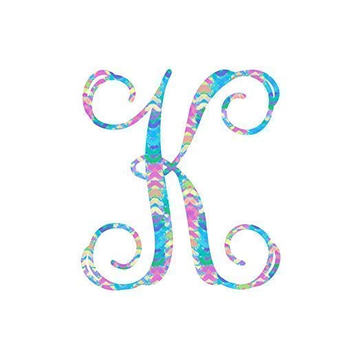Pattern Letter K Vinyl Pattern Monogram Decal for Cup, Tumbler, Laptop, or Car - 3.25 inches