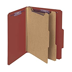 """Smead Pressboard Classification File Folder with SafeSHIELD Fasteners, 2 Dividers, 2"""" Expansion, Letter Size, Red, 10 per Box (14073)"""