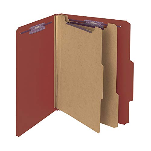 Section Top Tab Classification Folders - Smead Pressboard Classification File Folder with SafeSHIELD Fasteners, 2 Dividers, 2