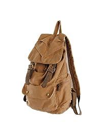 S.C.Cotton A005 Khaki Stylish Vintage Retro Unisex Canvas Casual Backpack