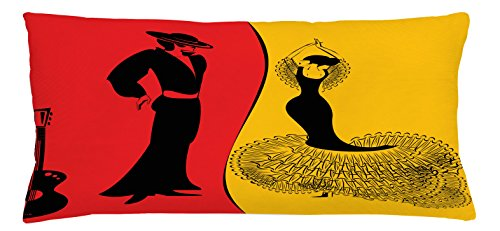 Spanish Dancer Study (Lunarable Art Throw Pillow Cushion Cover, Spanish Dancer Silhouettes with Man and Woman in Traditional Clothing, Decorative Square Accent Pillow Case, 36 X 16 Inches, Marigold Vermilion Black)