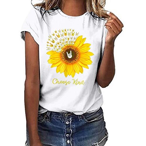TUSANG Women Tees Plus Size Print Shirt Short Sleeve T Shirt Blouse Tops Slim Fit Comfy Tunic(B-White,US-4/CN-S)