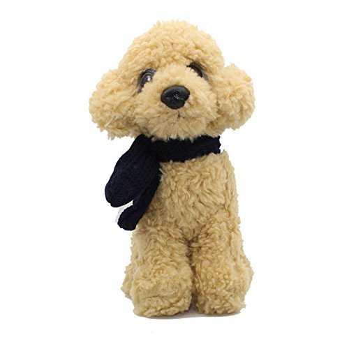 Vintoys Poodle Plush Puppies Stuffed Animals Dogs Plush Toy with Scarf Light Brown 9