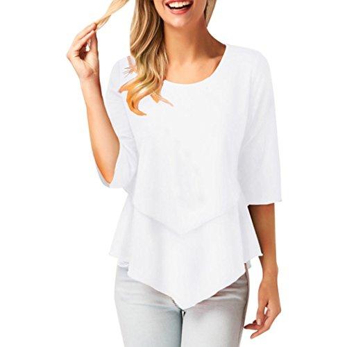 FEITONG Women Lady Summer Chiffon Loose Irregular Hem Half Sleeve Casual Tops Shirt (Casual Half Sleeve)