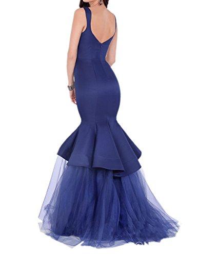 Charmant Damen Dunkel Blau Anmutig Meerjungfrau Abendkleider  Brautjungfernkleider Abschlussballkleider Lang