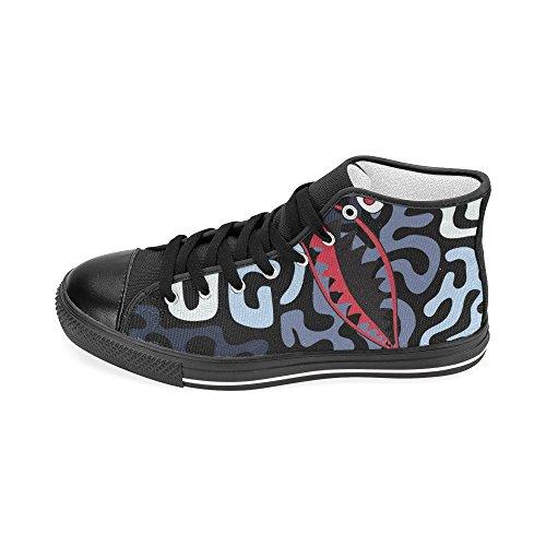 D-story Custom Shark Teeth Mens Classic High Top Scarpe Di Tela Fashion Sneaker Shark5