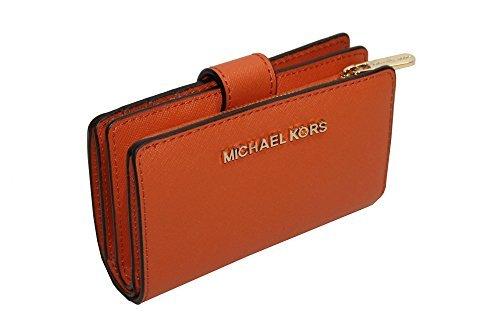 MICHAEL Michael Kors Jet Set Travel Bifold Zip Coin Wallet (Tangerine) by MICHAEL Michael Kors
