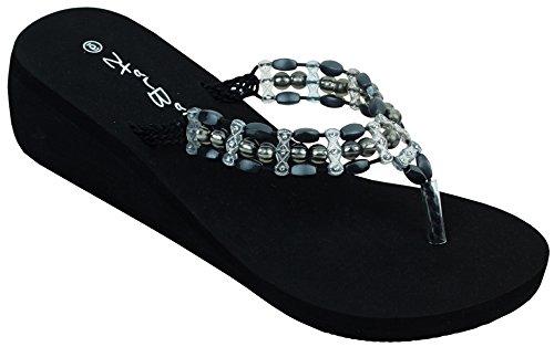 d4b7fef5294 Womens Fashion Wedge Sandals Platform Thongs Flip Flops W Stones Sandals  Shoes (2307-Black