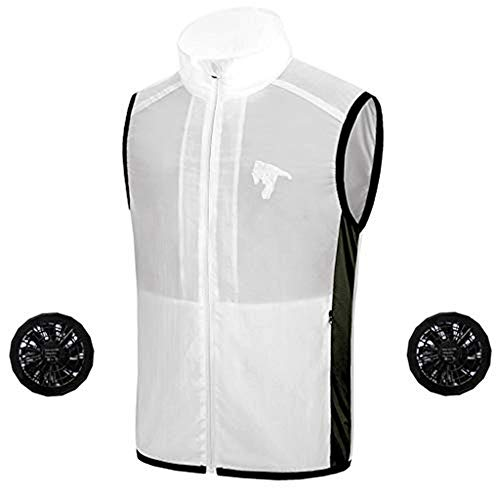 Transser Unisex Cooling Vest Air Conditioning Top Heat Resistant Built in Cooling Fan Sun Protection Shirt for Outdoor Events