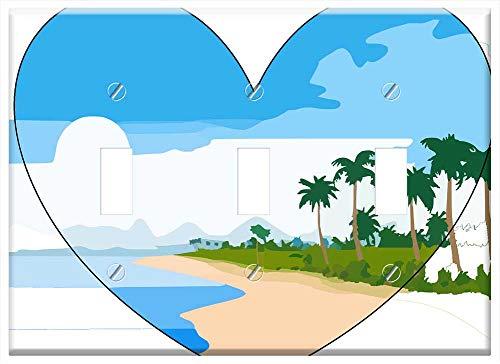 Strand Heart Toggle - Switch Plate Triple Toggle - Beach Strand Palm Trees Heart Love Sky Sand