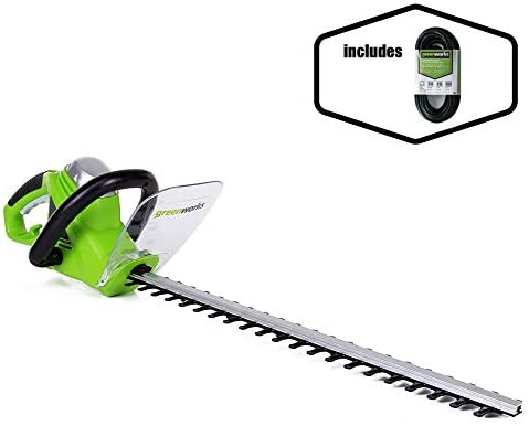 Greenworks 22-Inch 4-Amp Corded Hedge Trimmer and 50-Foot Indoor Outdoor Extension Cord